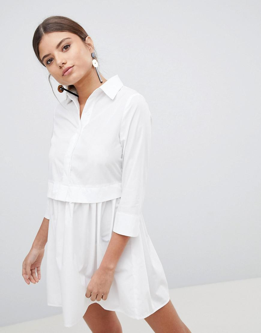 6829f06c84 PRETTYLITTLETHING - White Skater Shirt Dress - Lyst. View fullscreen