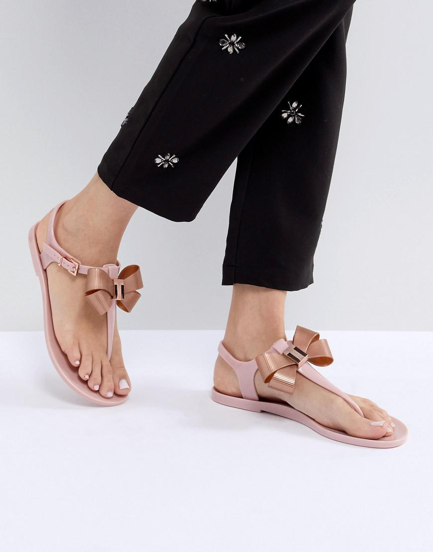 c980d4af8aa172 Lyst - Ted Baker Camaril Pink T-bar Bow Flat Sandals in Pink