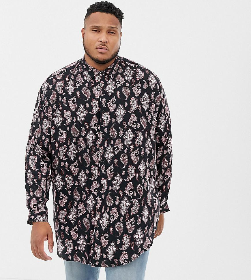7ad1a7732b09 ASOS Plus Oversized Fit Shirt In Paisley With Drop Shoulder And ...
