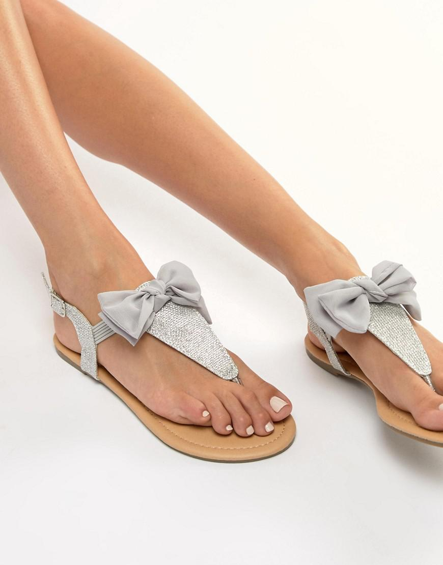 5ef5c8b8f2b1 Lipsy Sandal With Bow Detail in Gray - Lyst