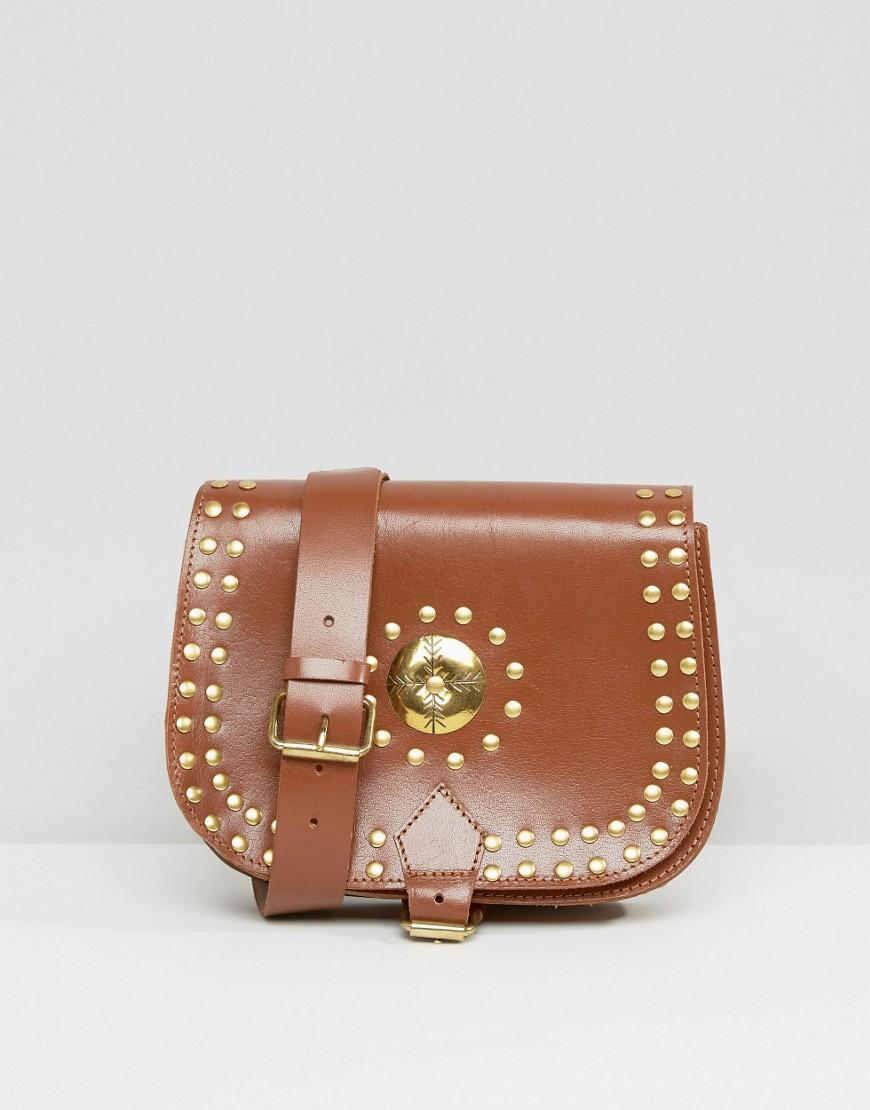 Park Lane Studded Saddle Shoulder Bag in Brown - Lyst 50e6be3608033