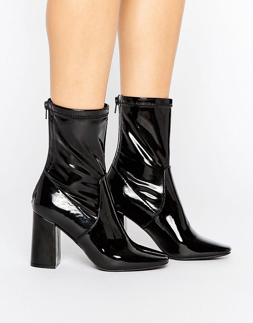 new look patent heeled ankle boot in black lyst