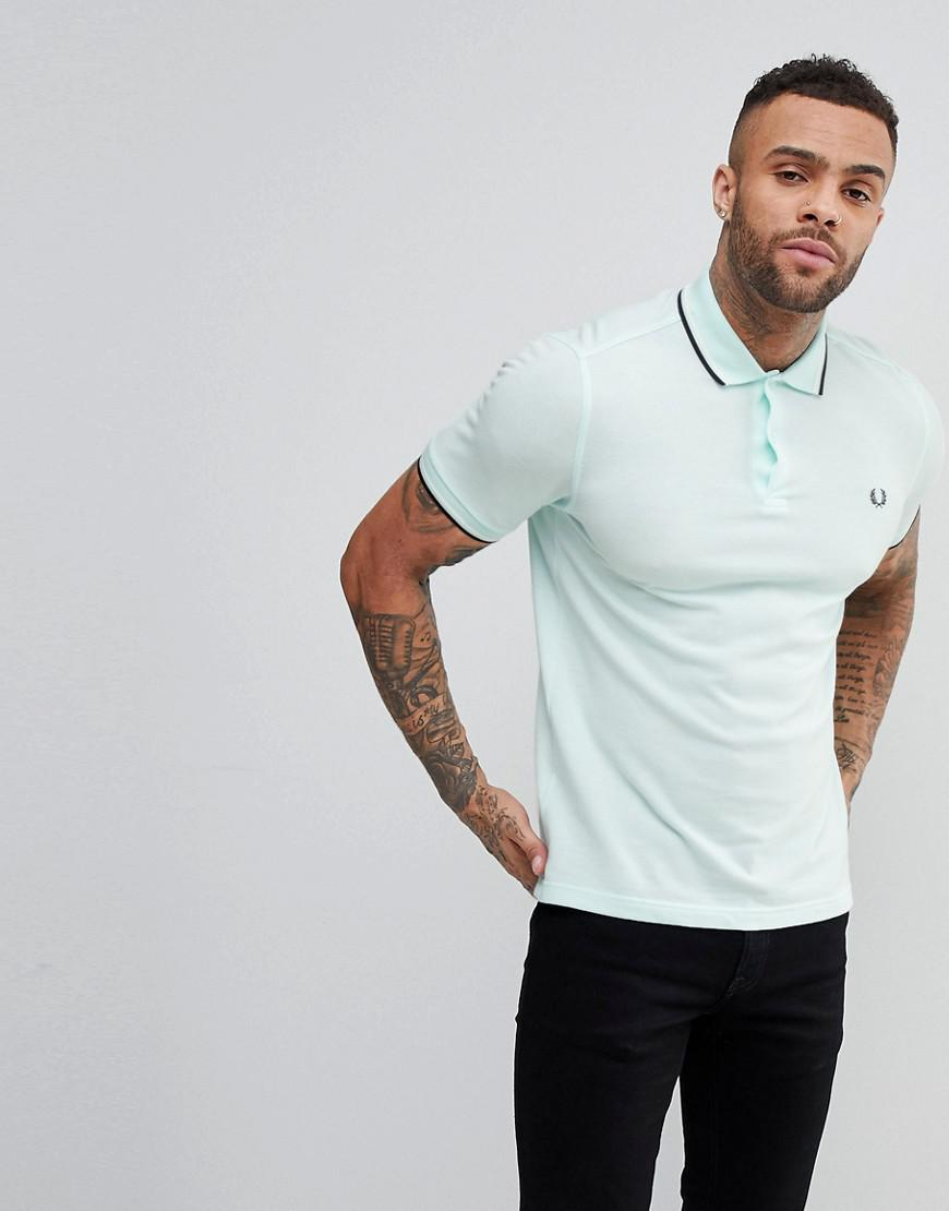 54ff14af Lyst - Fred Perry Slim Fit Twin Tipped Polo Shirt In Light Green in ...