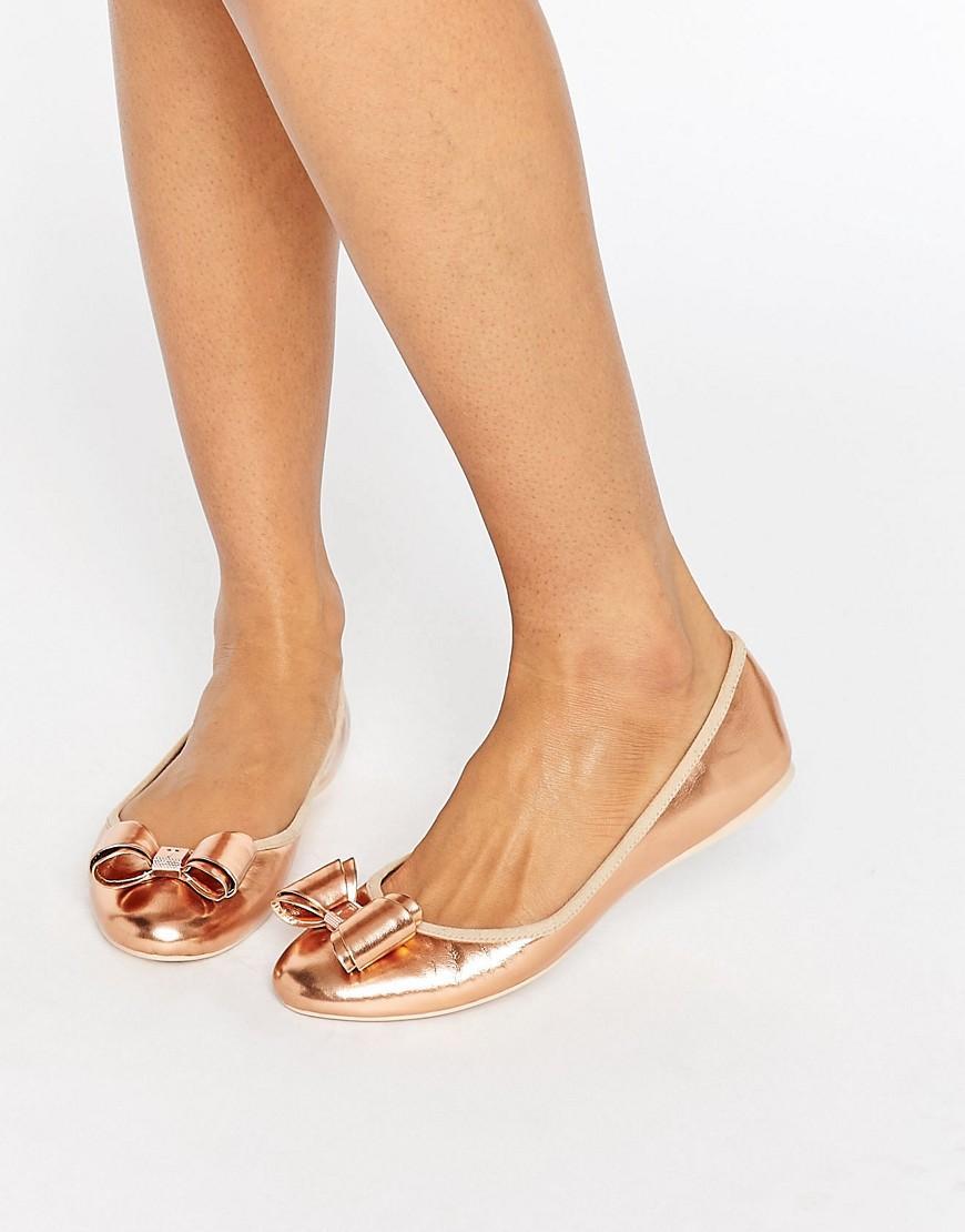 5dacbc144860 Lyst - Ted Baker Immet Rose Gold Ballet Flats in Metallic