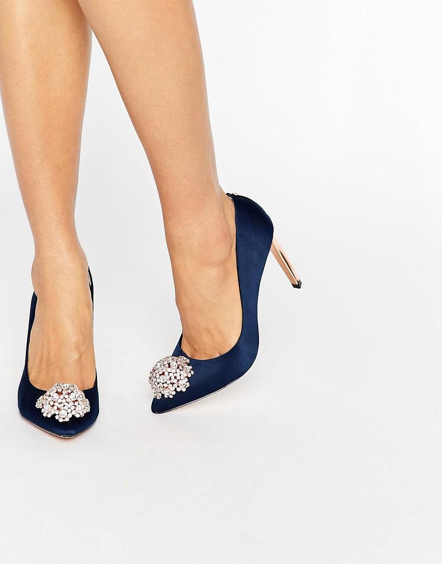 10540ad80a1f43 Ted Baker Peetch Tie The Knot Navy Embellished Pumps in Blue - Lyst