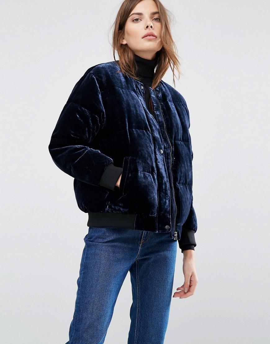 Lyst Warehouse Velvet Padded Jacket In Blue