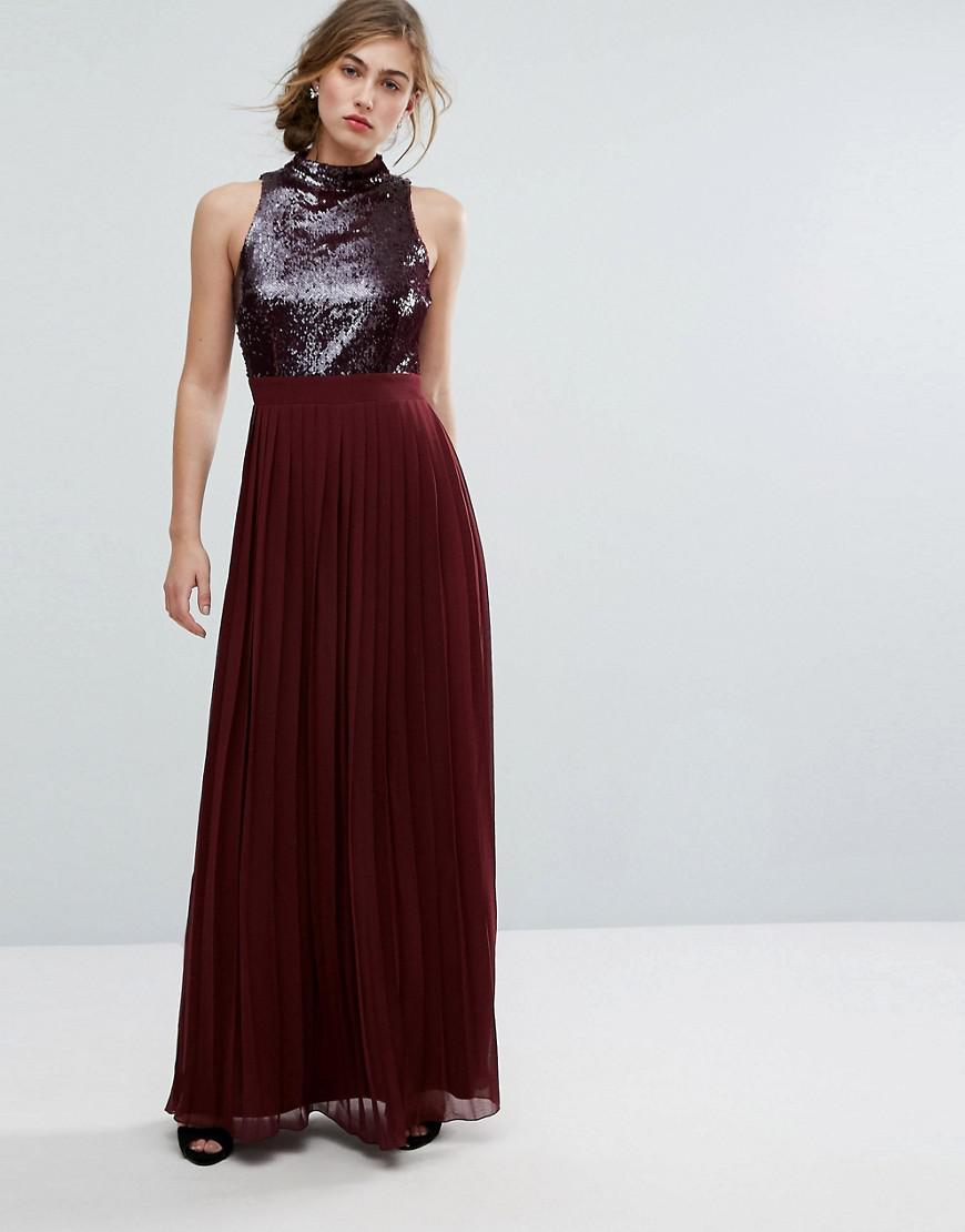 e7b9553382 Little Mistress Allover Sequin Top Maxi Dress With Pleated Skirt in ...