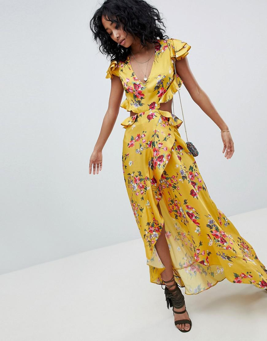d637baad290 ASOS. Women s Ruffle Maxi Dress With Cut Out Back In Yellow Floral Print