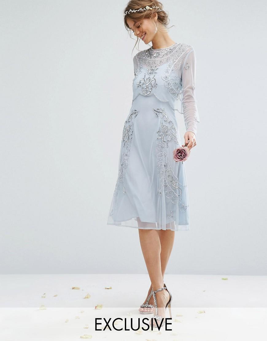 Lyst - Amelia Rose Embellished Midi Dress With Detachable Crop ...