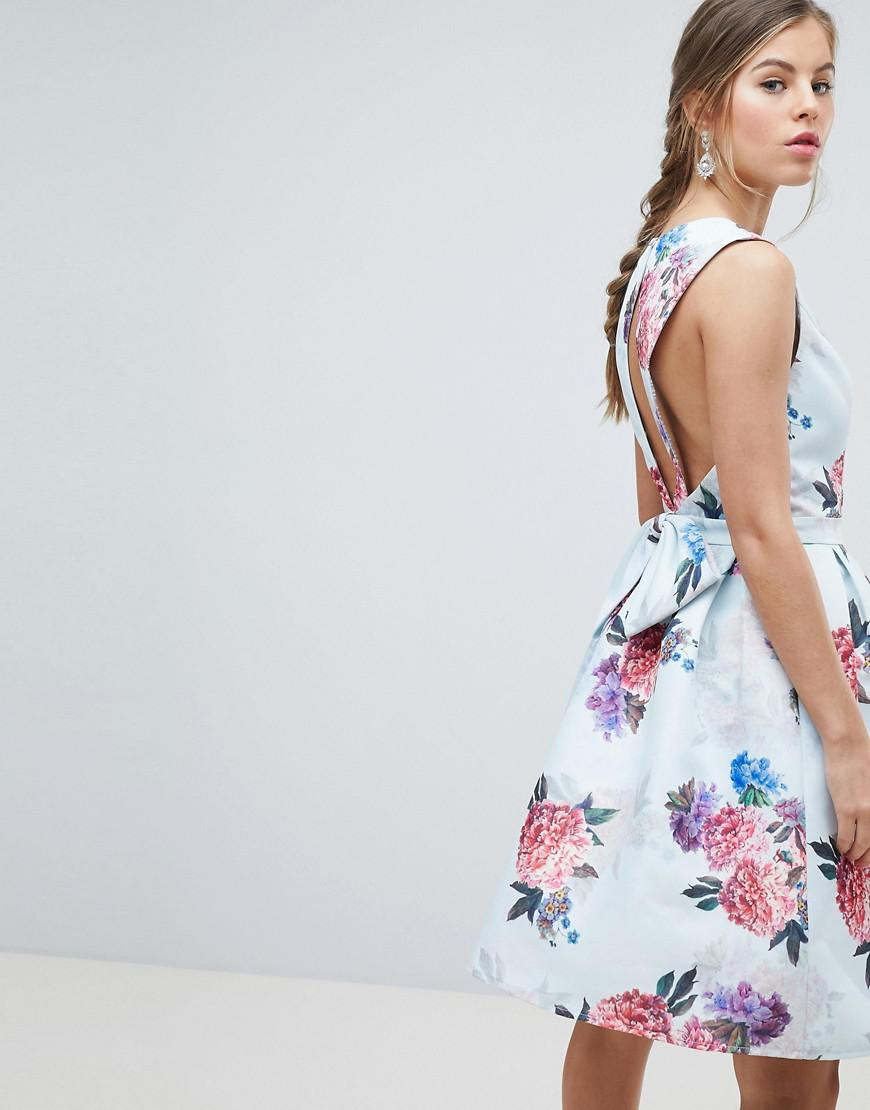 2c329997e9 Chi Chi London Bow Back Midi Prom Dress In Floral Print in Blue - Lyst