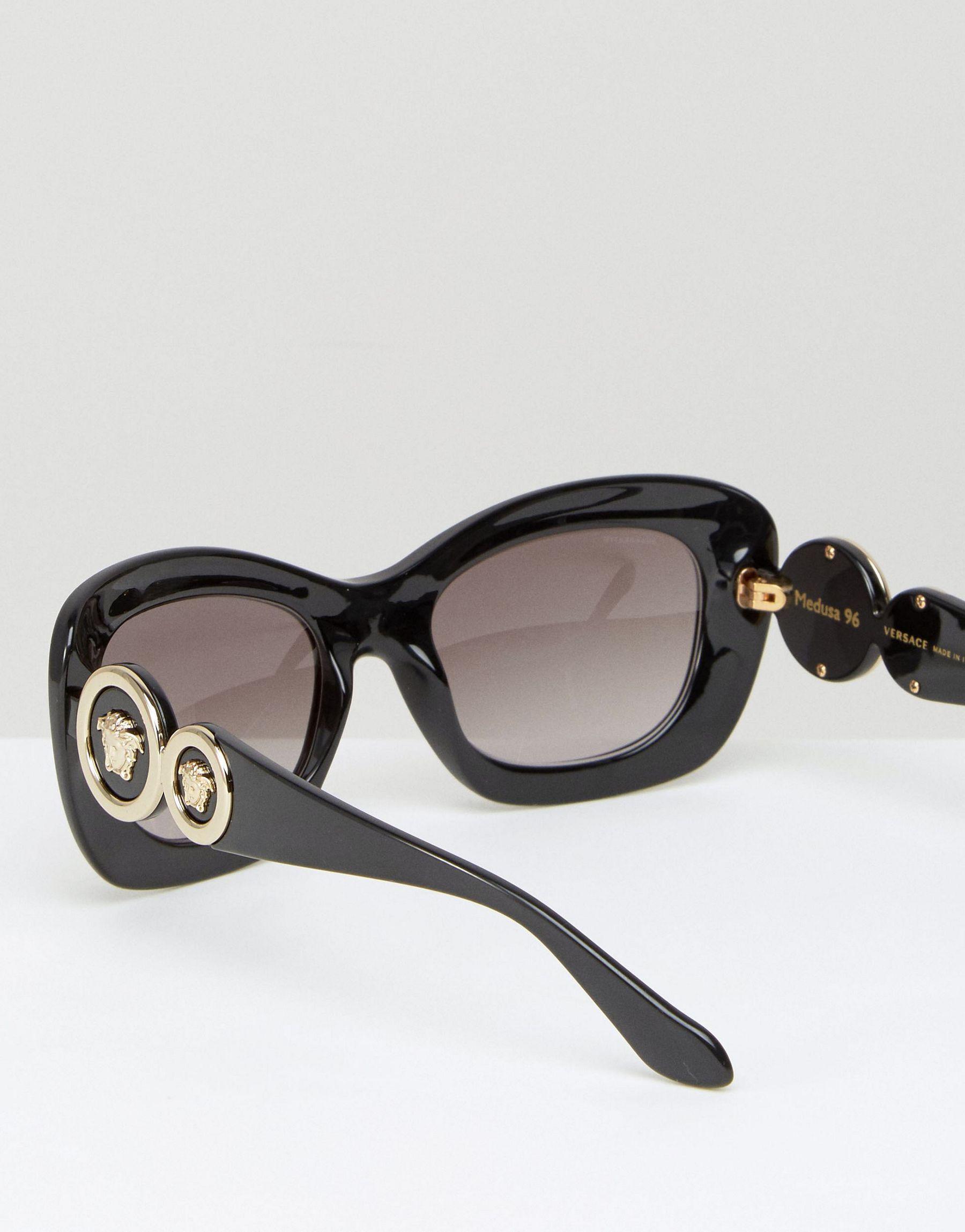 7ece5e3a3fe42 Lyst - Versace Cat Eye Sunglasses With Medusa Head Side Detail in Black