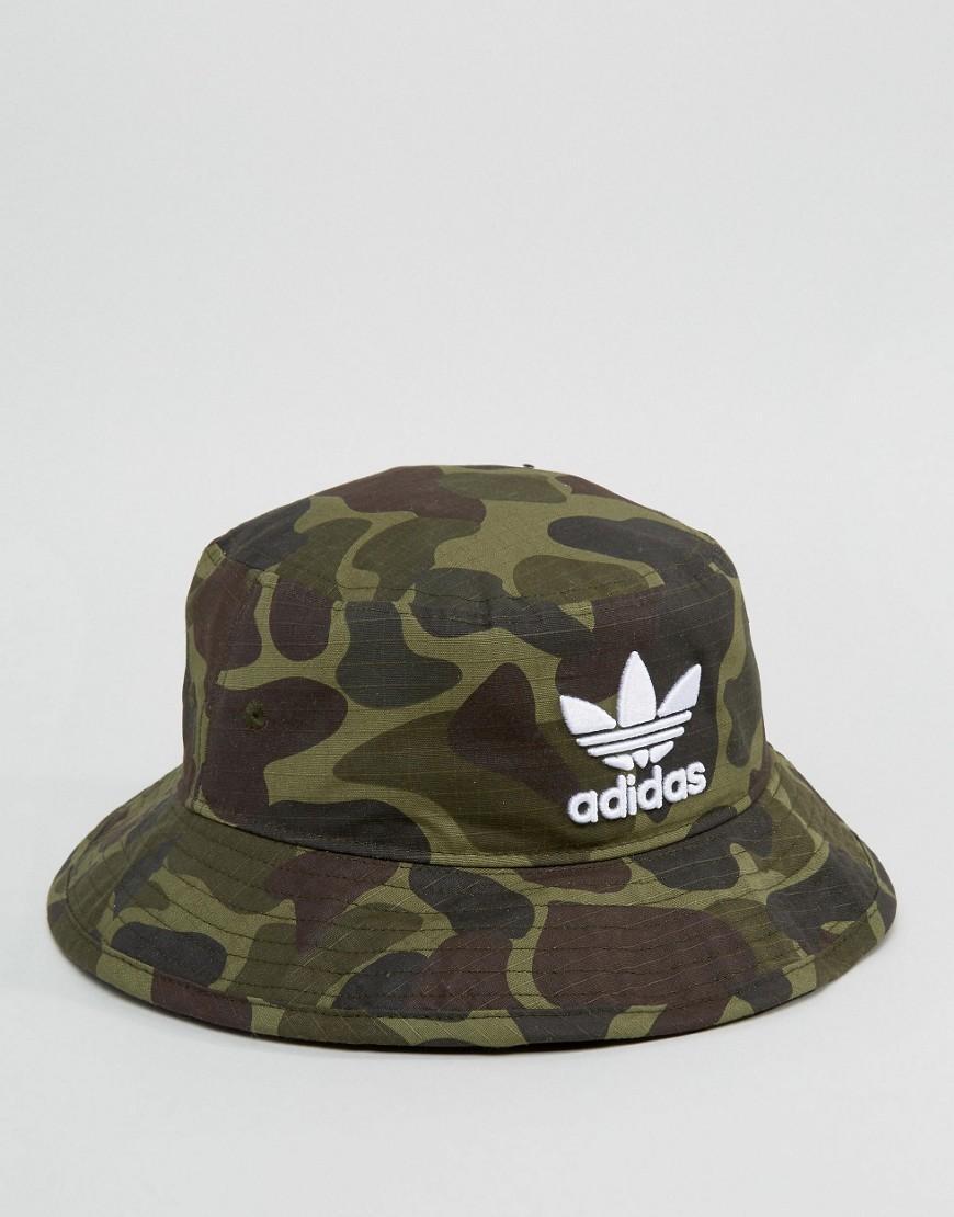 Lyst - adidas Originals Bucket Hat In Camo Bk7618 in Green for Men 618d16d75f57f