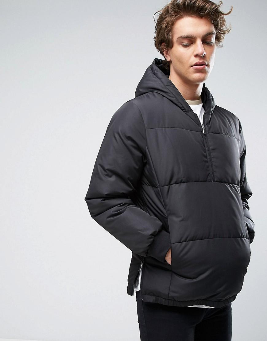 Asos overhead puffer jacket with hood in black in black for Bear river workwear shirts