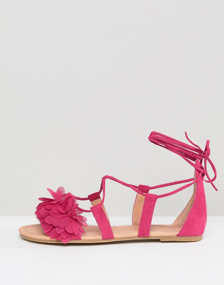 babca1e8ec7 ASOS Faa Wide Fit Tie Leg Flat Sandals in Pink - Lyst