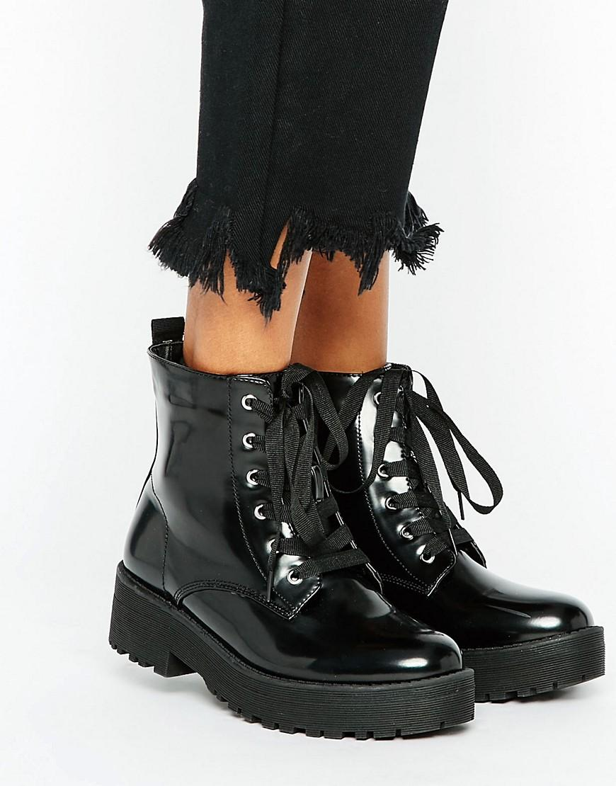 Lyst Truffle Collection Lace Up Boot In Black