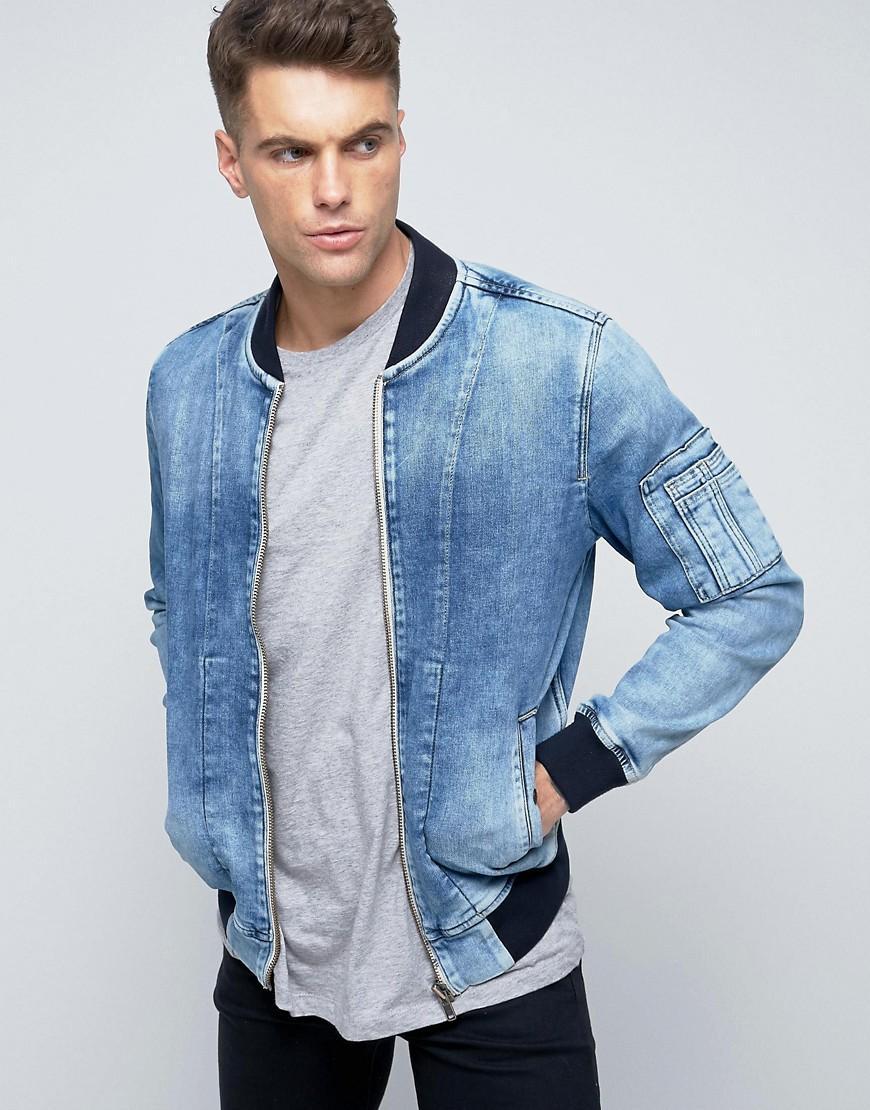 lyst pepe jeans pepe archive denim bomber jacket in blue. Black Bedroom Furniture Sets. Home Design Ideas