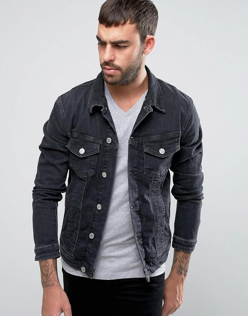 jack jones intelligence denim jacket in black for men lyst. Black Bedroom Furniture Sets. Home Design Ideas