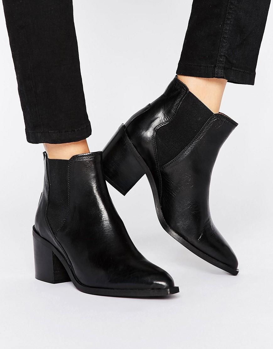 0dc234f7c2f2 Lyst - SELECTED Femme Elena High Heel Leather Boot in Black