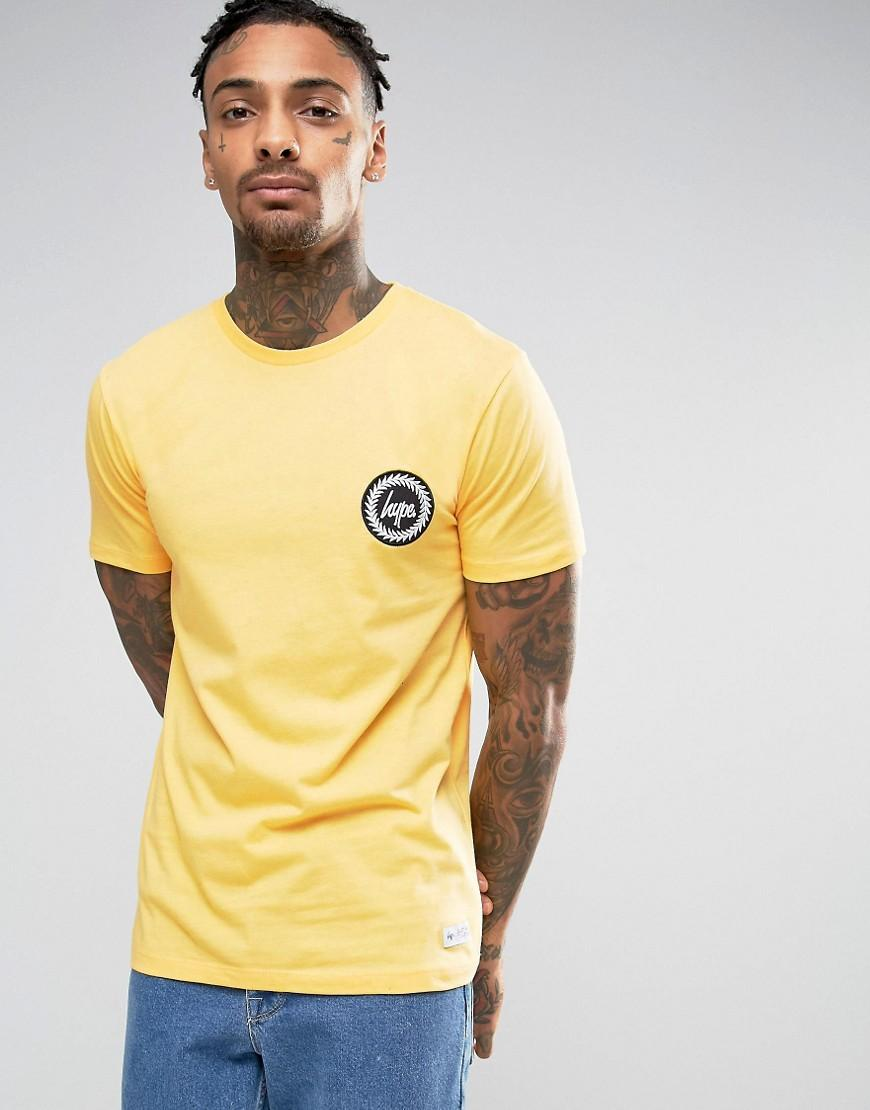 Hype T Shirt With Crest Logo In Yellow For Men Lyst