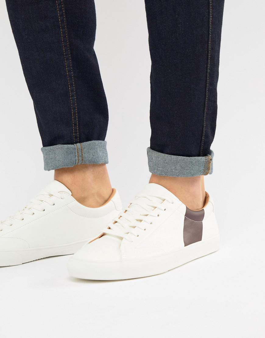 Pull&Bear Canvas Trainer With Side Stripe In White clearance real SQSqd