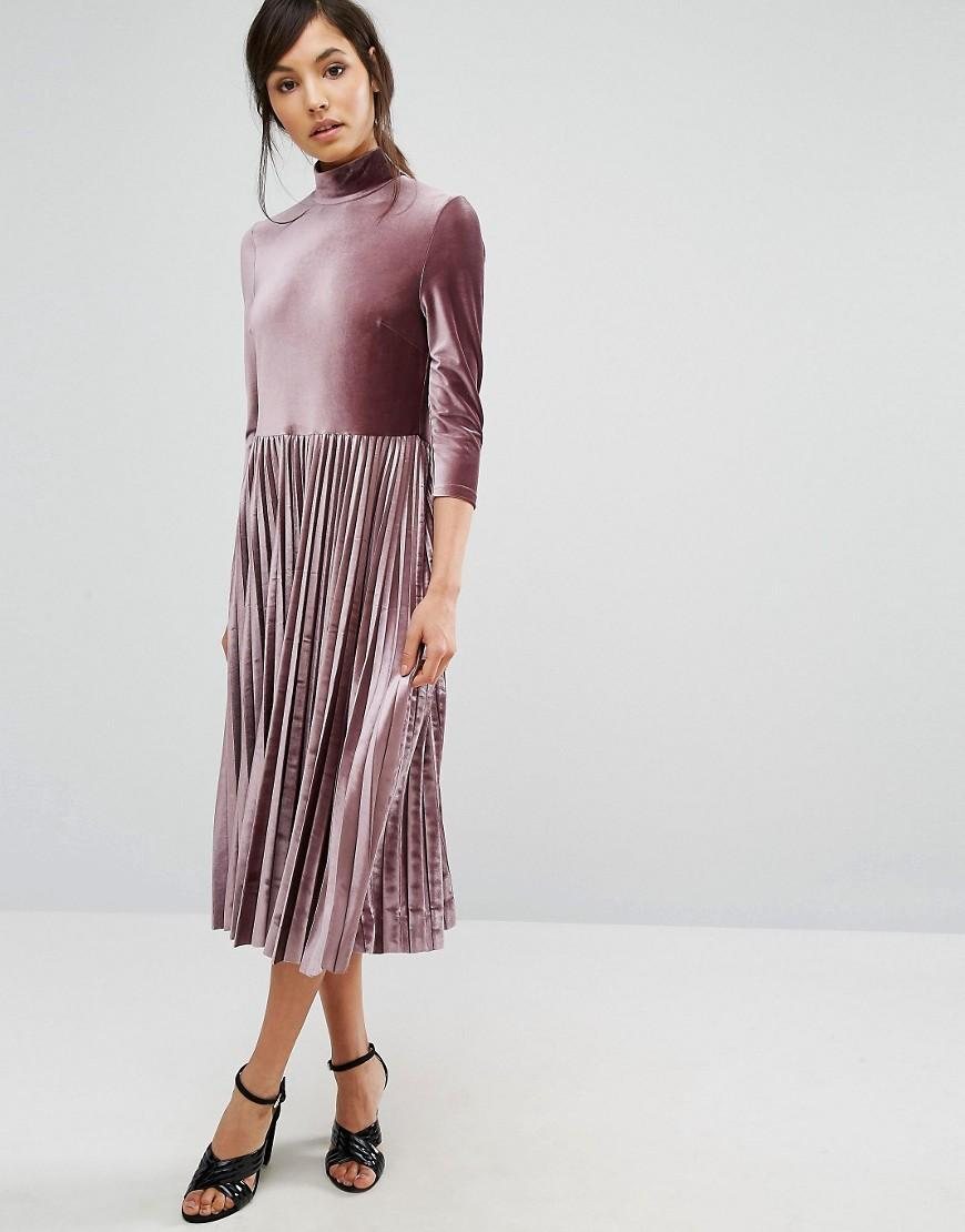 Lyst - Oasis Pleated Velvet Midi Dress in Pink 43a4b5a04