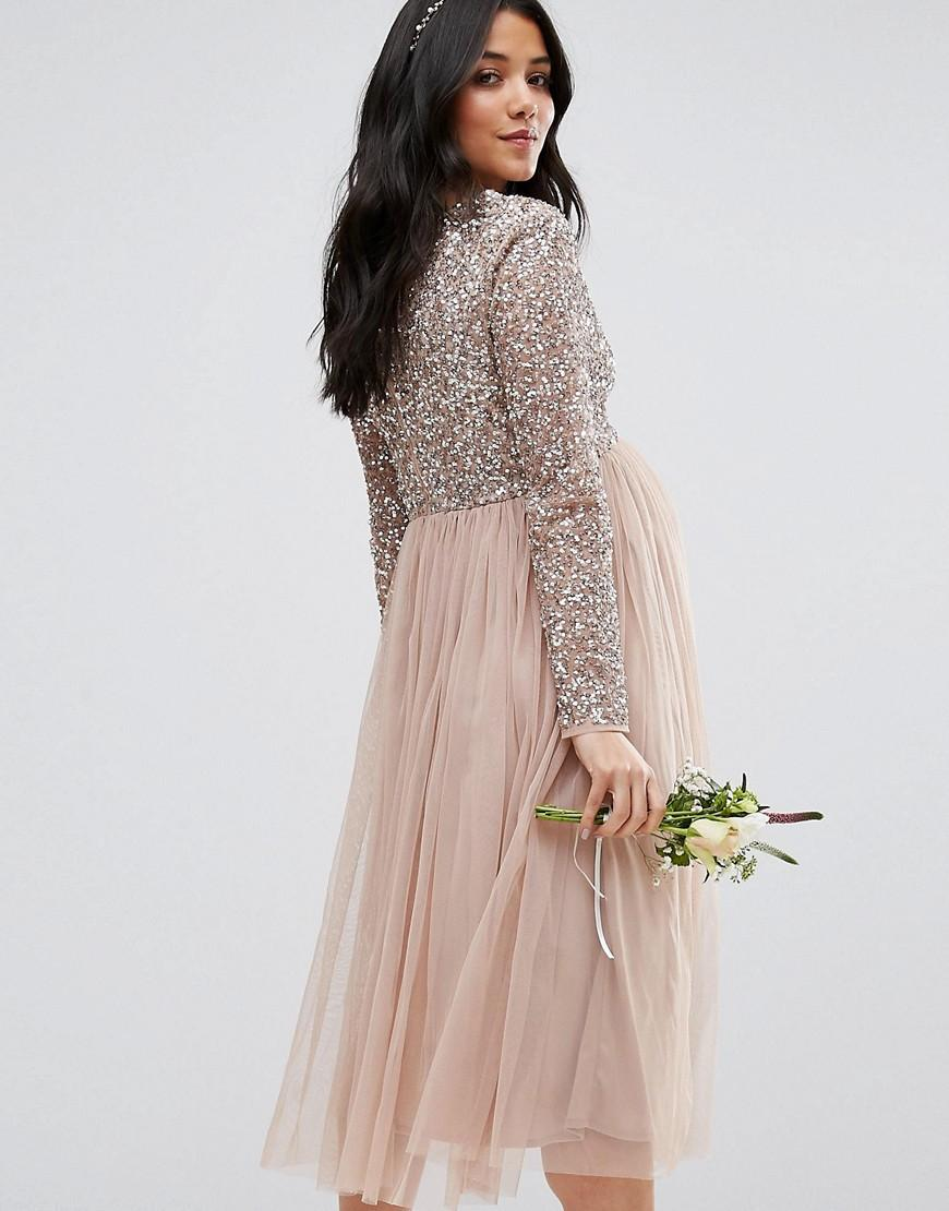 Lyst maya maternity long sleeve midi dress with delicate sequin gallery ombrellifo Choice Image
