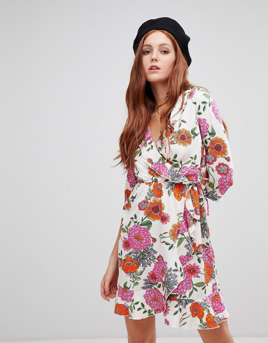 ... Multicolor Floral Wrap Dress - Lyst. View fullscreen 646b07820