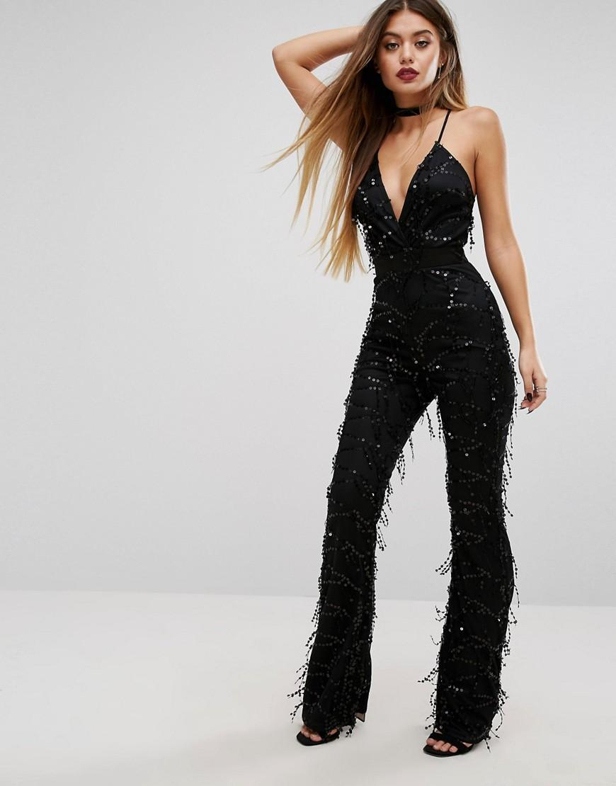 b4bf6d7aae2a Lyst - PrettyLittleThing Sequin Plunge Jumpsuit in Black