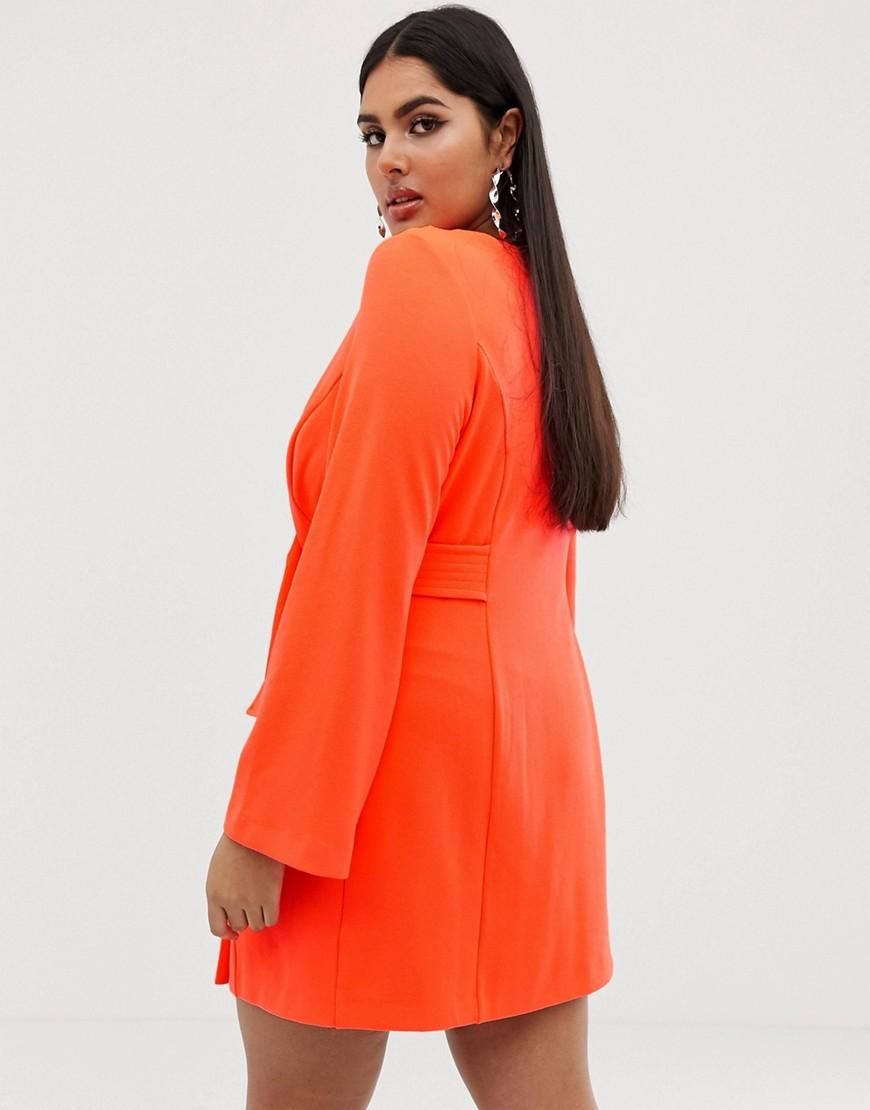 5d27cc520556 Lyst - ASOS Asos Design Curve Fluoro Tux Dress With Button Detail in Orange