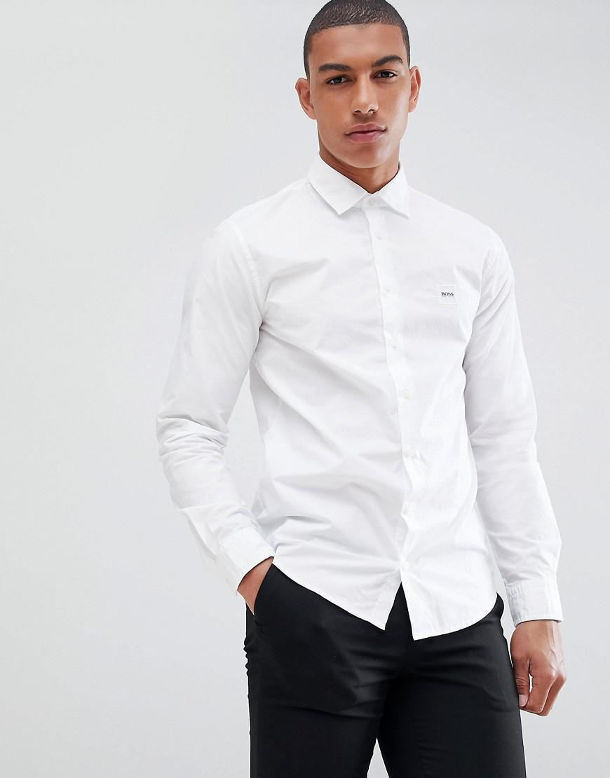 1478d6b7c BOSS Mypop Box Logo Shirt In White in White for Men - Lyst