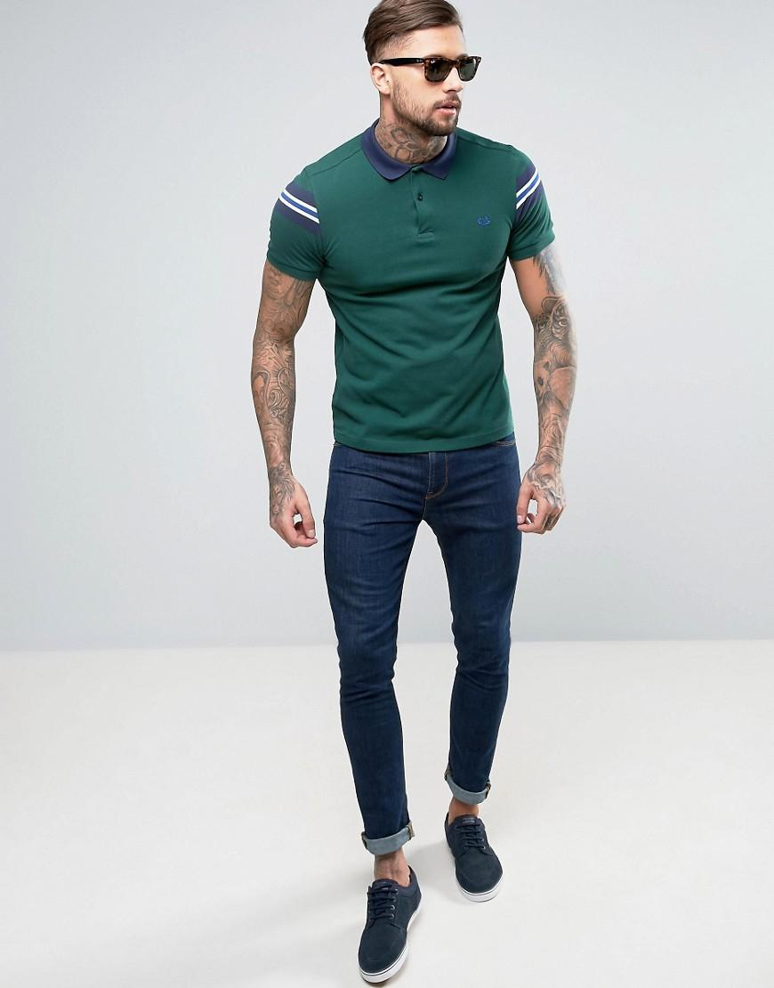 0079fa90 Fred Perry Slim Pique Polo Bomber Stripe Sleeve In Ivy Green in ...