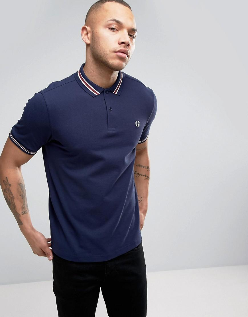 lyst fred perry slim pique polo bomber stripe in navy in. Black Bedroom Furniture Sets. Home Design Ideas