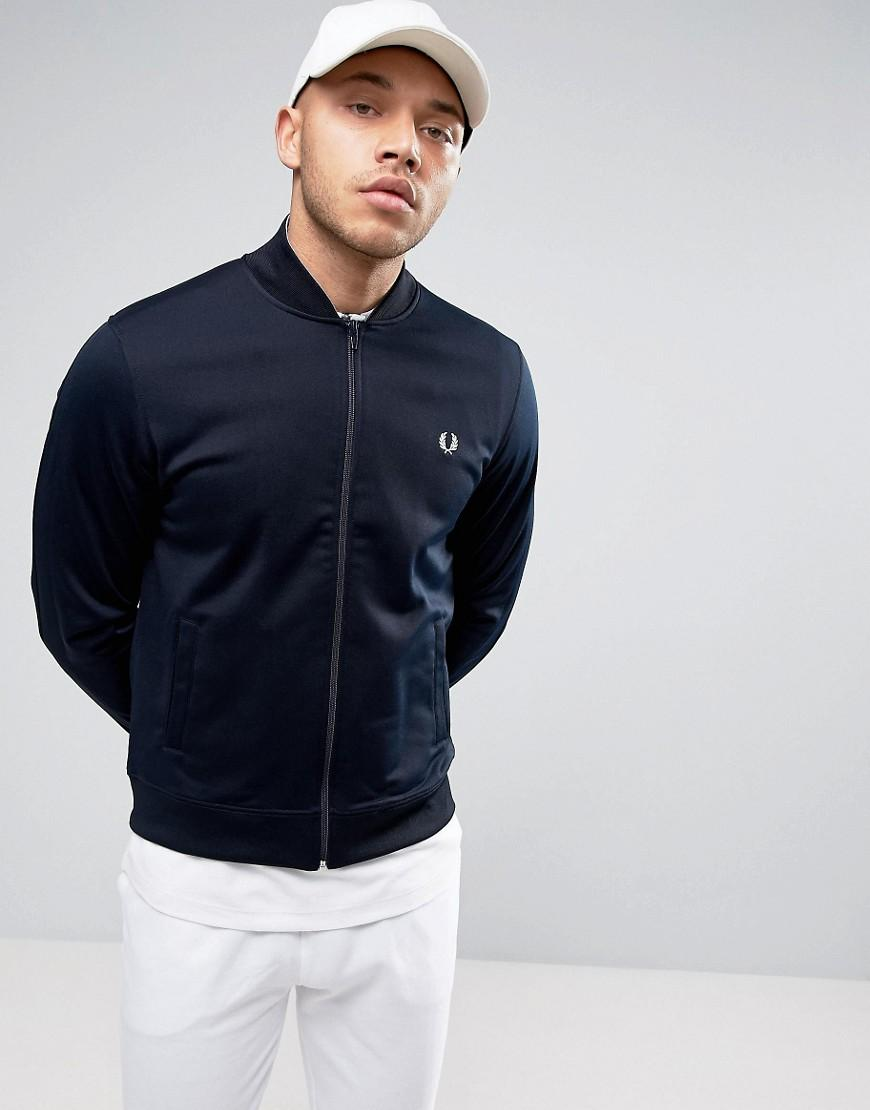 fred perry bomber neck track jacket in navy in blue for men lyst. Black Bedroom Furniture Sets. Home Design Ideas