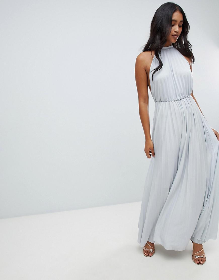 b6cc9b2b1 Lyst - ASOS Asos Design Tall High Neck Pleated Maxi Dress in Gray