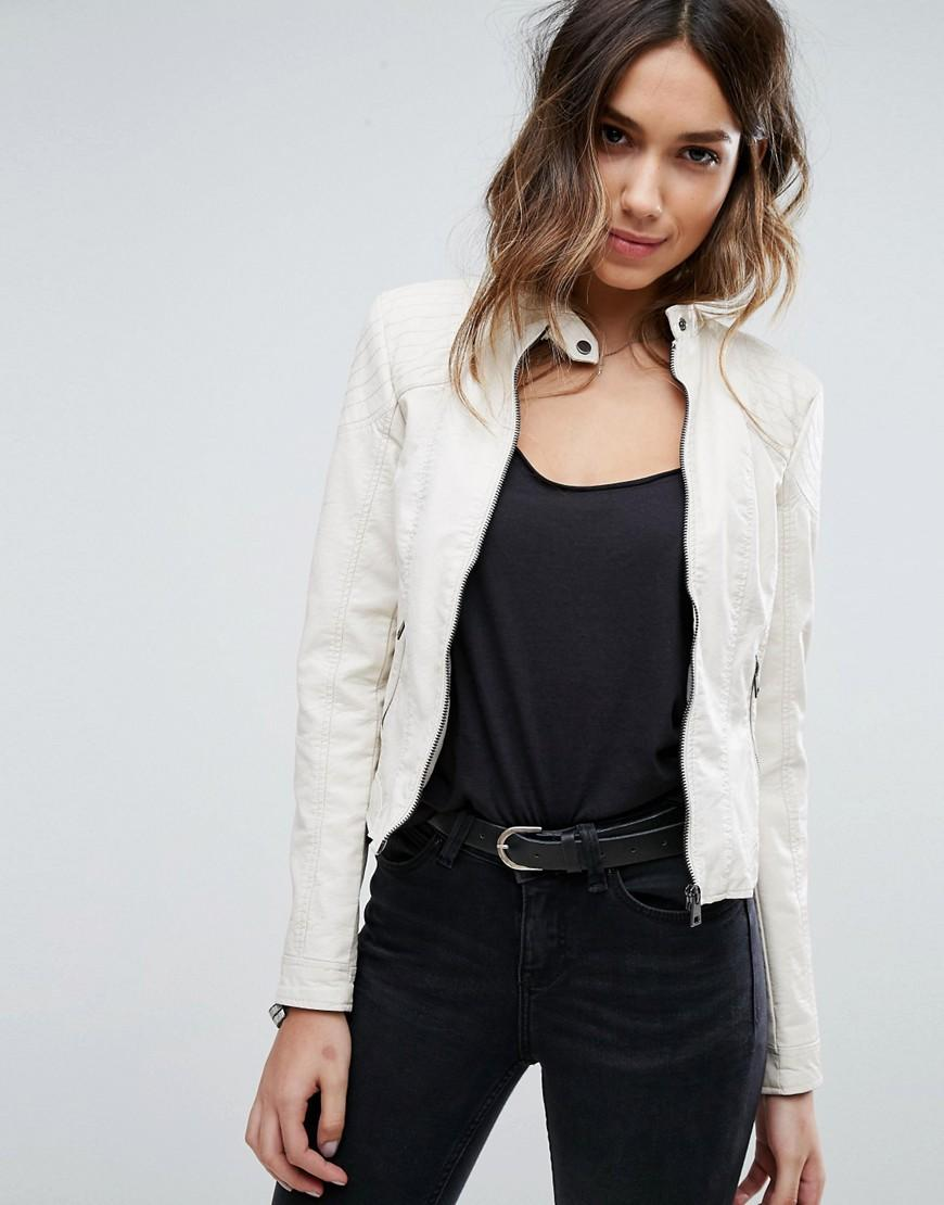 Lyst - Vero Moda Faux Leather Jacket In White