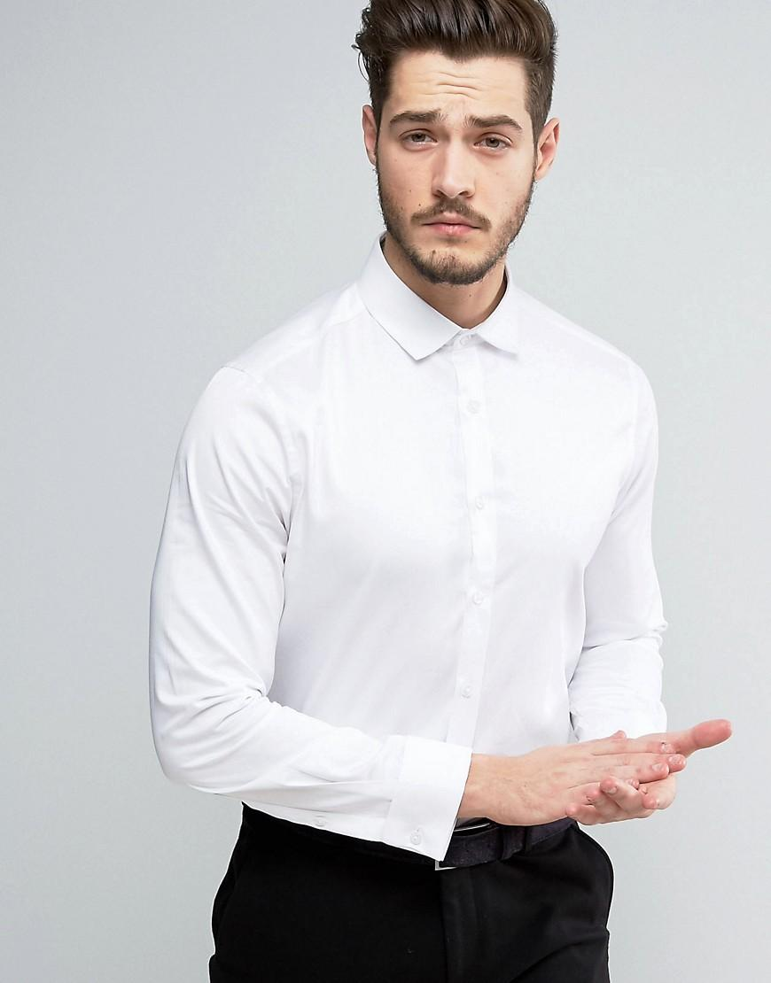 Asos regular fit egyptian cotton shirt with double cuff in for Mens egyptian cotton dress shirts