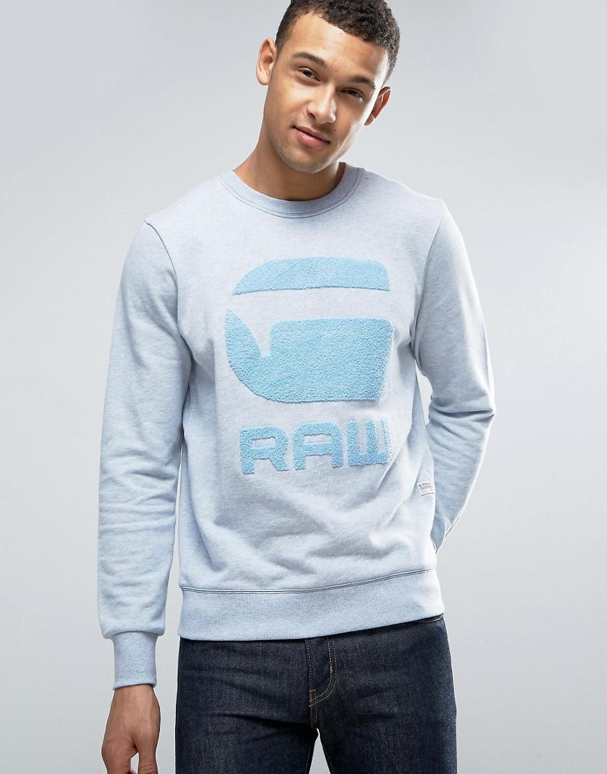 g star raw yster sweater in blue for men lyst. Black Bedroom Furniture Sets. Home Design Ideas