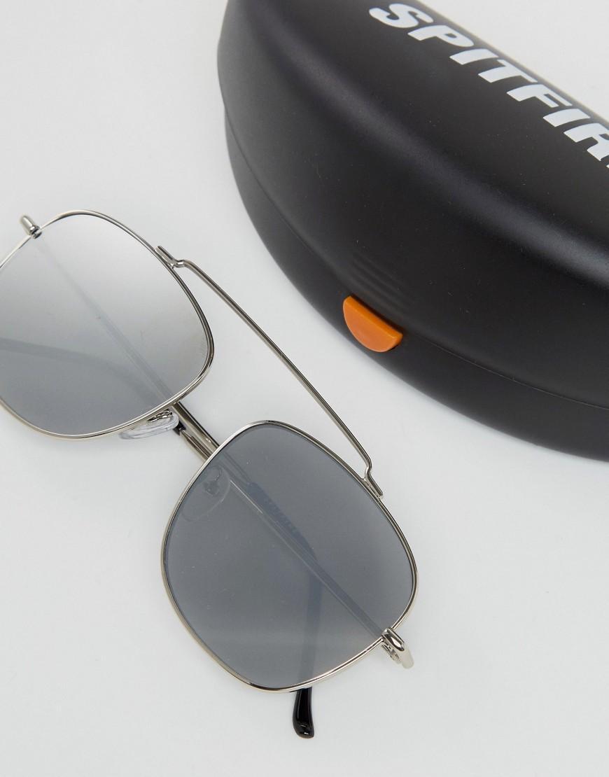 Spitfire Beta Aviator Sunglasses In Silver Mirror In
