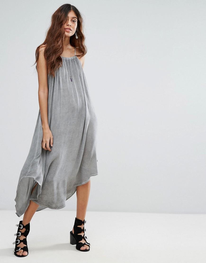 Lyst nytt waterfall maxi dress in gray for Waterfall design dress