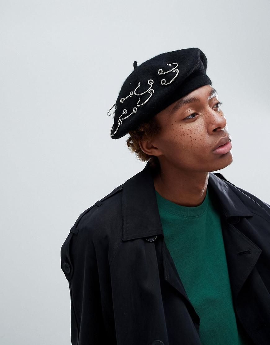 Beret In Black With Paris Embroidery - Black Asos