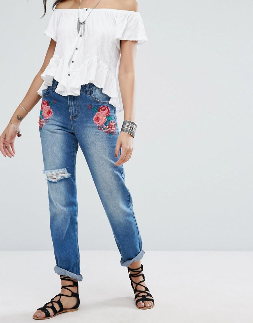 Boohoo embroidered jeans with distressing in blue lyst
