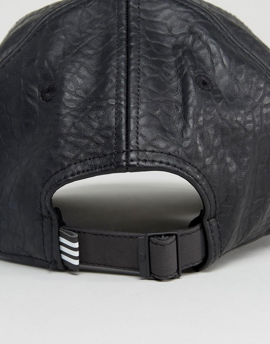 Lyst - adidas Originals Originals Crackled Leather Logo Cap in Black a3f8d0d7f7