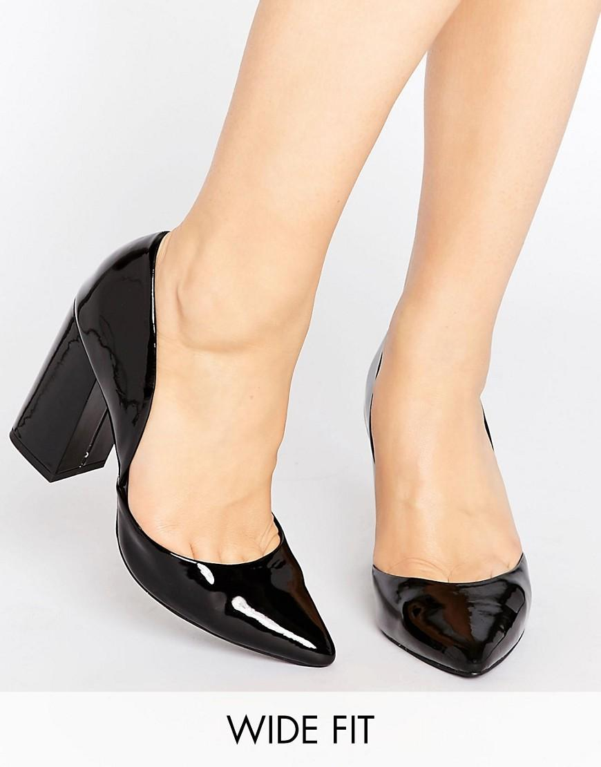 new look block heeled court shoes black in black lyst