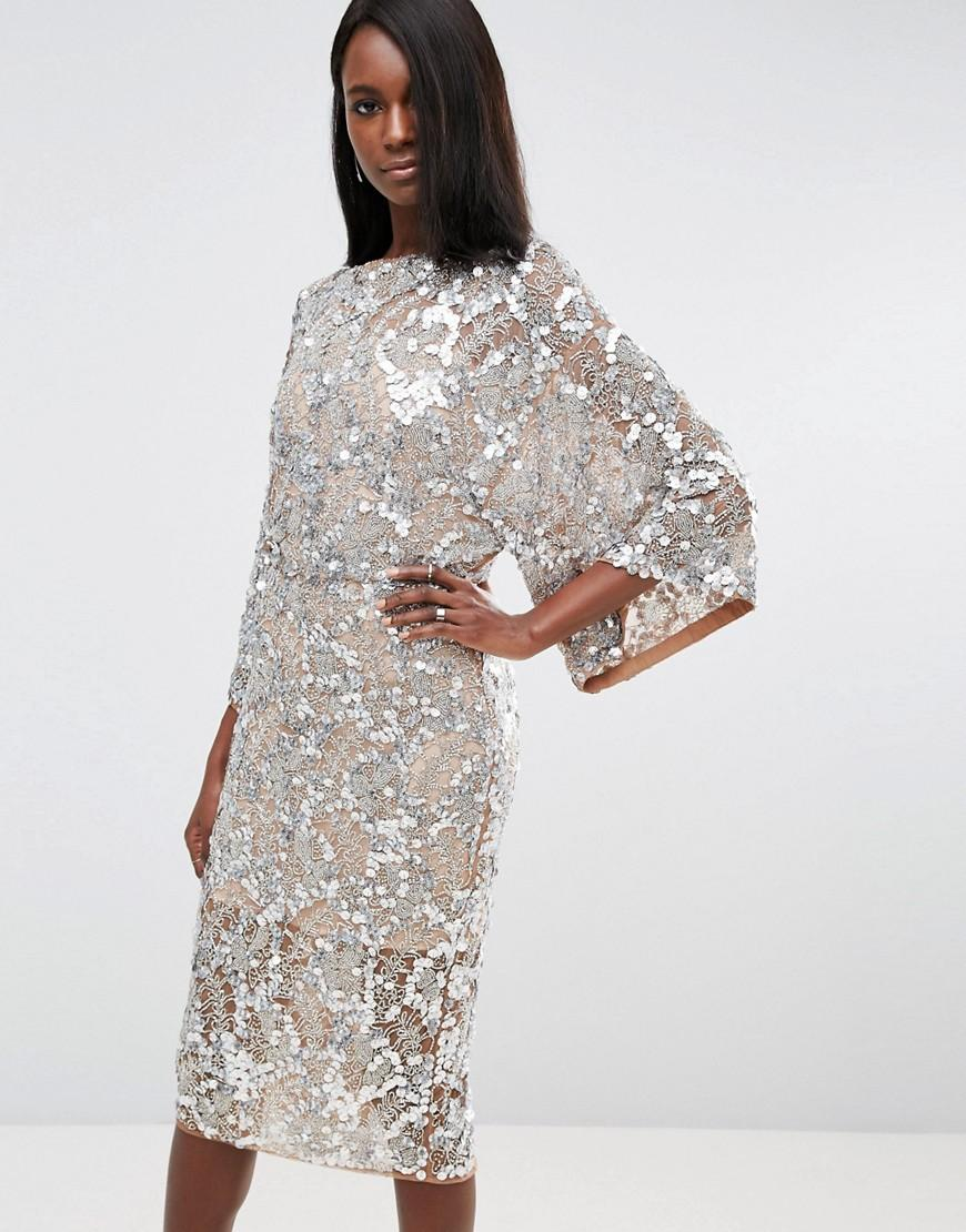 Lyst Asos Red Carpet Embellished Kimono Midi Dress In