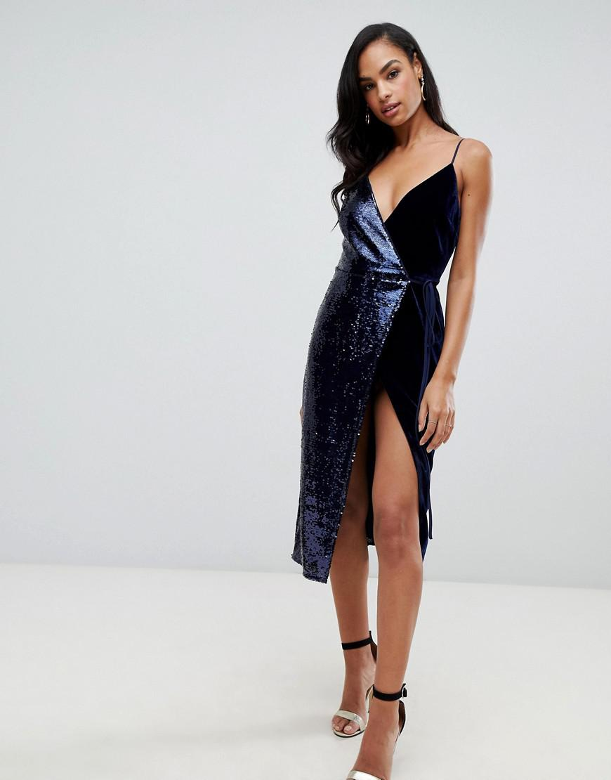 c2a1af5ce73 ASOS Sequin And Velvet Cami Wrap Midi Dress in Blue - Lyst