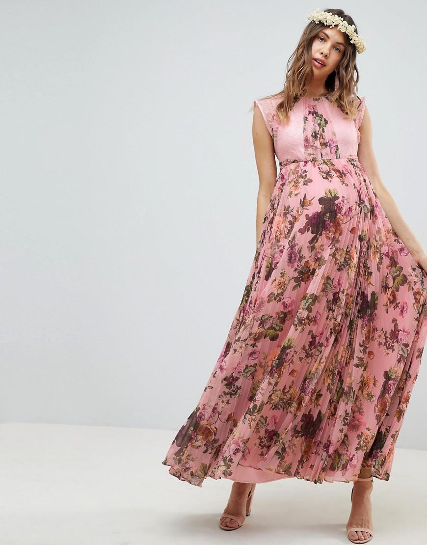 b37dfe791f3f ASOS. Women's Asos Design Maternity Pleated Short Sleeve Maxi Dress In Pink Floral  Print