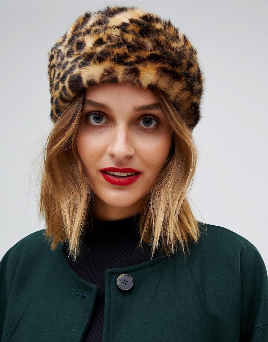 lyst pieces faux fur leopard headband in brown