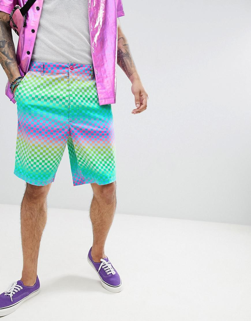 DESIGN Skater Shorts In Rainbow Checkerboard Print - Green Asos 6IqfK
