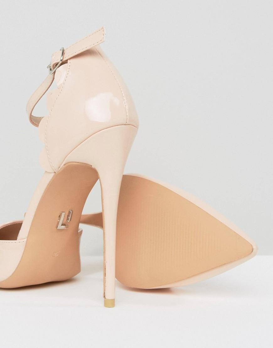 Scalloped Patent Heeled Shoes - Nude Lost Ink. VVJXSvqH