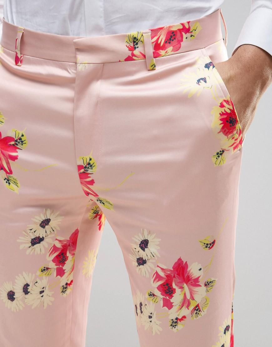 Lyst Asos Wedding Skinny Smart Trousers In Pink Floral Print In